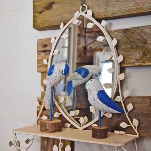 Papagøjer på fint spejl med hylde